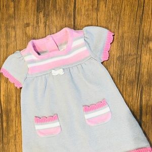 Gymboree Pink White & Grey Sweater Dress